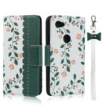 Pattern Printing PU Leather + TPU Wallet Phone Casing for Google Pixel 3a – Dark Green