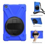 For Amazon New Fire (2019) X-Shape PC + TPU 360 Degree Rotary Kickstand Cover with Handstrap + Shoulder Strap – Blue