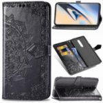 For OnePlus 7 Pro Embossed Mandala Flower Leather Cell Covering – Black