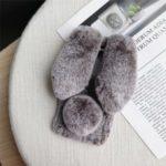 Rabbit Shape Fluffy Fur Coated Rhinestone TPU Shell for OnePlus 7 Pro – Coffee