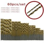 60PCS/Pack High Speed HSS Plating Titanium Twist Drill Bit Set Metric System 1.0-3.5mm