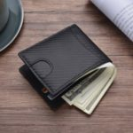 Carbon Fibre Texture RFID Blocking Men Wallet Genuine Leather Bi-fold Purse