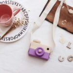 Kids Children Wood Camera Toy Cute Wooden Camera Christmas Xmas Birthday Gift with Neck Lanyard