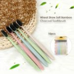 10Pcs Black Tooth Brush Wheat Straw Soft Bamboo Charcoal Toothbrush Set for Kids and Adults