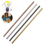 Multicolor 10.5inch Reusable Drinking Straws Stainless Steel Straight Straws [Random Color] – 4Pcs