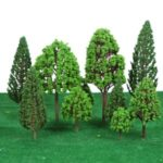 33Pcs Mini Plastic Green Trees Models Train Landscape Scenery Layout Garden Decoration Tree Toy