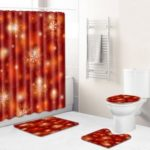 4PCS/Set Christmas Toilet Polyester Cover Mat Set Bathroom Shower Curtain – Style A017
