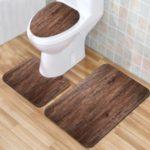 3PCS/Pack Plank Texture Bathroom Set Rug Contour Mat Toilet Lid Cover – Style p190615-3
