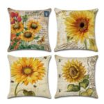 4Pcs/Set Sunflower Pattern Printing Pillow Case Sofa Home Decor Cushion Cover Decor 45 x 45cm