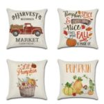 4Pcs/Set Pumpkin Pattern Printing Pillow Case Thanksgiving Day Sofa Home Decor Cushion Cover Decor 45 x 45cm