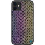 NILLKIN Dazzling PU Leather + PC + TPU Phone Case for iPhone 11 6.1 inch (2019) – Purple/Gold