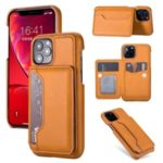 PU Leather + PC Card Holder Kickstand Phone Cover for Apple iPhone 11 Pro 5.8 inch – Brown