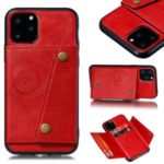 Kickstand Card Holder PU Leather Coated TPU Case for iPhone 11 6.1 inch – Red
