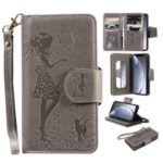 Imprint Girl and Cat 9 Card Slots Leather Wallet Case with Lanyard for iPhone 11 Pro 5.8 inch (2019) – Grey