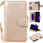 Imprint Girl and Cat 9 Card Slots Leather Wallet Case with Lanyard for iPhone 11 6.1 inch (2019) – Gold
