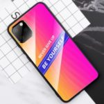 Stylish Design Tempered Glass PC+TPU Shell for iPhone 11 Pro 5.8 inch – Rose