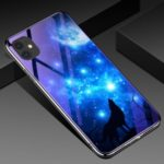 Electroplated Blue-ray Tempered Glass Back Phone Cover for Apple iPhone 11 6.1 inch – Starry Sky and Wolf
