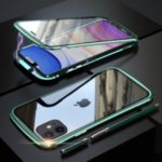 LUPHIE Magnetic Metal Frame Tempered Glass Phone Cover for Apple iPhone 11 6.1 inch – Green