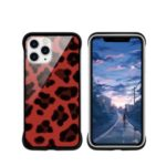 NXE Leopard Series Pattern Translucent Glass TPU Hybrid Phone Case for iPhone 11 Pro Max 6.5 inch – Red
