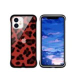 NXE Leopard Series Pattern Translucent Glass TPU Hybrid Phone Case Cover for iPhone 11 6.1 inch – Red