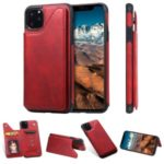 PU Leather Coated TPU Cover Phone Case with Card Slots for iPhone 11 Pro Max 6.5 inch – Red