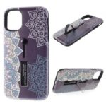 For iPhone 11 Pro Max 6.5 inch Embossed Flower Pattern Phone Case with Finger Grip and Kickstand – Purple