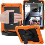 360° Swivel Handy Strap PC Silicone Combo Kickstand Tablet Shell with Shoulder Strap + Screen Protector for iPad 9.7-inch (2018)/(2017) / Air 2 / Pro 9.7 inch (2016) – Orange Outer Layer/Black