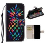 Pattern Printing Leather Wallet Stand Case for iPhone 11 Pro 5.8 inch – Colorized Pineapple