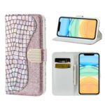 Crocodile Texture Glittery Powder Splicing Wallet Leather Cell Phone Case with Stand for iPhone 11 6.1 inch – Rose Gold