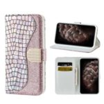 Crocodile Texture Glitter Powder Leather Wallet Stand Case Phone Covering for iPhone 11 Pro Max 6.5 inch – Rose Gold