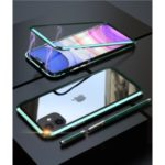 Magnetic Metal Frame + Tempered Glass Back Cell Phone Case for iPhone 11 6.1-inch – Green