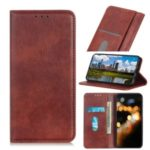 Auto-absorbed Litchi Texture Split Leather Wallet Case for Samsung Galaxy A20s – Dark Brown