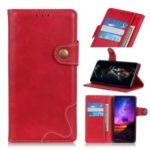 S-shape Textured PU Leather Stand Wallet Phone Case for Samsung Galaxy A20s – Red