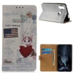 Printing Skin Leather Wallet Shell Case for Samsung Galaxy A20s – Cat Holding Heart and American Flag