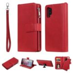 Detachable 2-in-1 TPU + Zipper Wallet Leather Phone Casing for Samsung Galaxy Note 10 Plus/Note 10 Plus 5G – Red