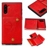 PU Leather Coated TPU Case [Built-in Vehicle Magnetic Sheet] for Samsung Galaxy Note 10/Note 10 5G – Red