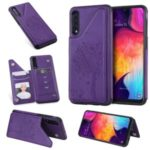 Imprinted Cat Tree Leather Coated TPU Case with Card Slot Stand Shell for Samsung Galaxy A50/A50s/A30s – Purple