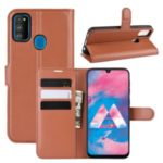 Litchi Skin Leather Stand Phone Shell Wallet Case for Samsung Galaxy M30s – Brown