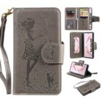 Imprinted Beauty Leather Stand Case with Cat 9 Card Slots for Samsung Galaxy Note 10 / Note 10 5G – Grey