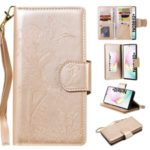 Imprinted Cat Lady Leather Shell with 9 Card Slots for Samsung Galaxy Note 10 Plus/Note 10 Plus 5G – Gold