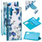 Pattern Printing Leather Stand Wallet Phone Shell for Samsung Galaxy Note 10/Note 10 5G – Blue Flower and Butterfly