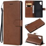 Wallet Leather Cell Phone Protection Case for Samsung Galaxy Note 10 Plus/Note 10 Plus 5G – Brown