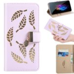 Leaf Pattern Flip Leather Wallet Phone Cover for Samsung Galaxy A30 – Purple