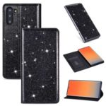 Flash Powder Stand Leather Card Holder Case for Samsung Galaxy Note 10 5G / Note 10 – Black