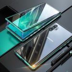 Magnetic Installation Metal Frame + Tempered Glass Alll-side Protective Shell [Support Fingerprint Unlock] for Samsung Galaxy Note 10 Plus/Note 10 Plus 5G – Green