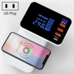 5-port Smart Wireless Charger Multi-function Foldable Fast Charging Power Adapter with LED Display – US Plug