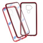 Detachable Magnetic Metal Frame + Glass Full Protective Back Cover Phone Casing for Huawei Mate 30 Lite / nova 5i Pro – Red