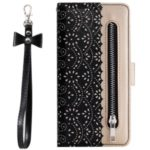 Lace Flower Pattern Zipper Pocket Leather Wallet Case with Bowknot Lanyard for Huawei P30 Lite – Black
