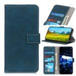 Crazy Horse Leather Wallet Stand Case for Motorola Moto E6 Plus – Dark Blue