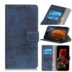 Retro Style Leather Wallet Case for Motorola Moto E6 Plus – Blue